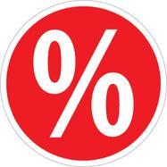 Aufkleber Prozentzeichen, rund
