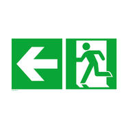 Notausgang links mit Richtungspfeil links