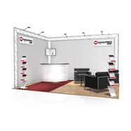 Messestand FD 22, 4.000 mm x 2.500 mm x 3.000 mm (B x H x T)