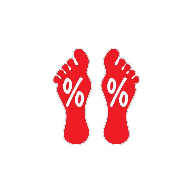 Fußbodenaufkleber Fußabdruck