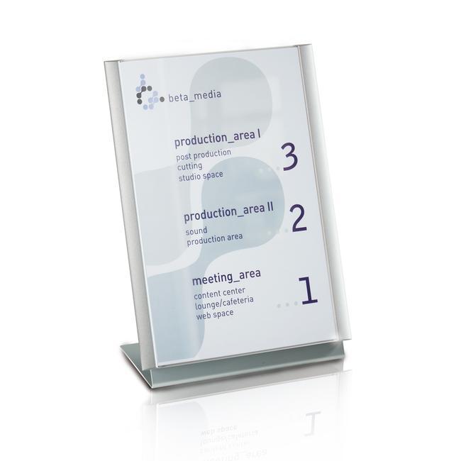 """Aluminium L-Aufsteller """"Ocean"""", Tischaufsteller zur Verwendung mit Türschild"""