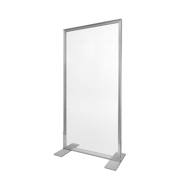Trennwand aus Aluminium Stretchframe mit glasklarem Banner