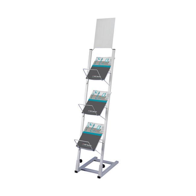 Katalogständer mit großer Fülltiefe und Topschild