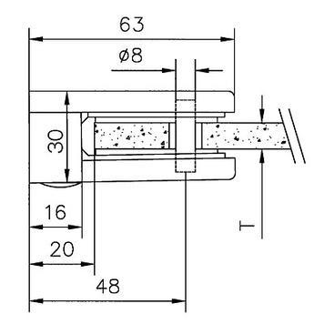 Große Glasklemme zur Montage an Wänden 6, 8 und 10 mm
