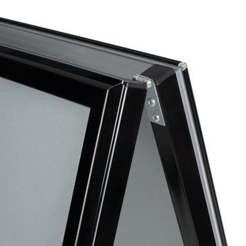 Bacheca a cavalletto , profilo 32 mm, angoli smussati, nera
