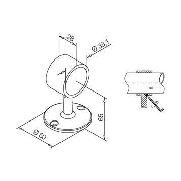 Rohrhalter V2A, hochglanz poliert