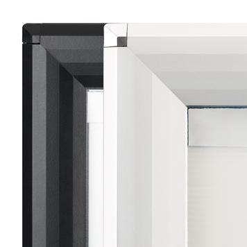 "Regenwasserfester Kundenstopper WindSign ""Seal"", 44 mm Profil, silber / grau, mit Topschild"