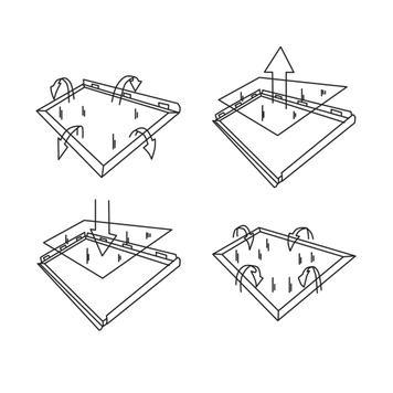Klapprahmen, 25 mm Profil, Edelstahloptik, Gehrungsecken